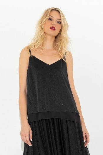 STRAP TULLE TOP
