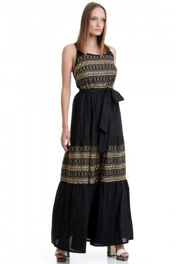 EMBROIDERED BOHO STRAPPY MAXI DRESS