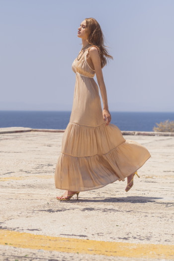 GOLDEN METALLIC MAXI DRESS