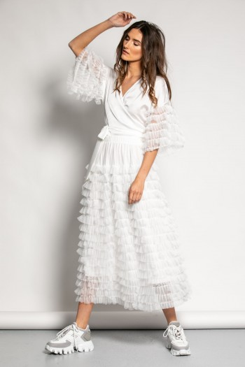 MIDI TULLE RUFFLED SKIRT