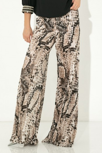 PLEATED ANIMAL PRINT TROUSERS