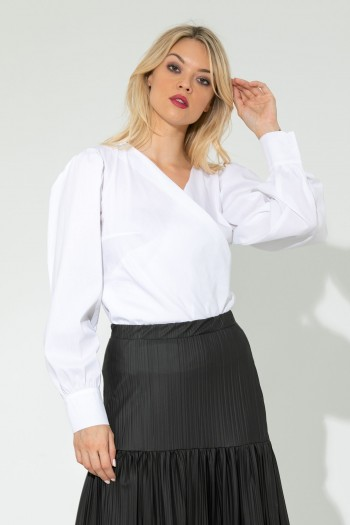 WRAP SHIRT WITH OVERSIZED SLEEVES