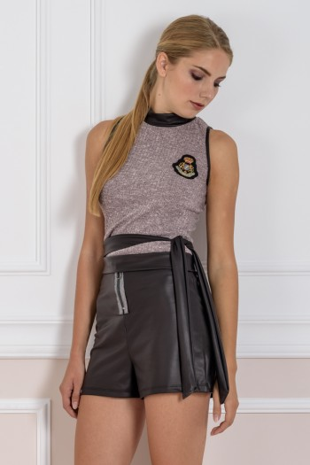 HIGH-WAISTED FAUX LEATHER SHORTS