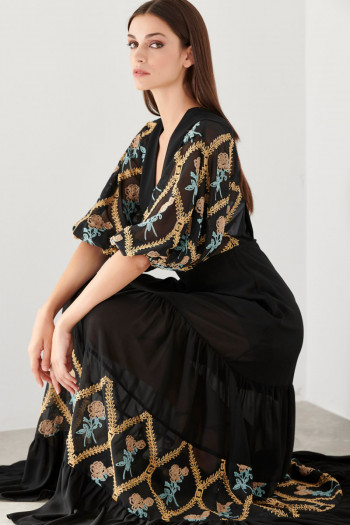 EMBROIDERED MOUSSELINE MAXI DRESS