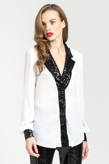 COLLARED SHIRT WITH SEQUINS