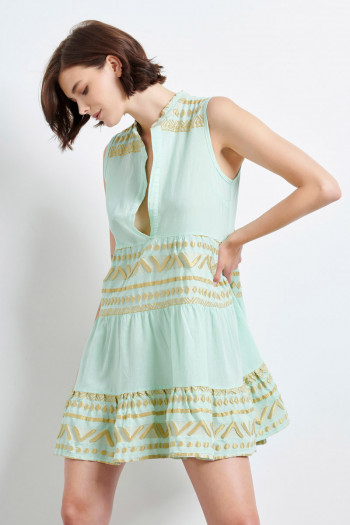 BOHO MINI DRESS WITH GOLDEN EMBROIDERY