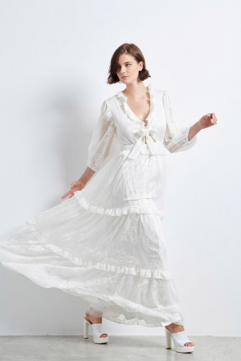 OCCASION EMBROIDERED MOUSSELINE MAXI DRESS
