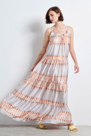 SATIN TIE DIE MAXI DRESS