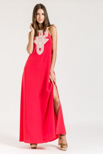 OPEN BACK MAXI DRESS WITH LACE PANEL