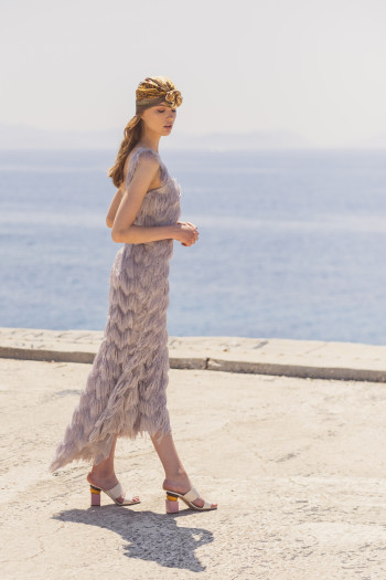HIGH-LOW LONG DRESS WITH FRINGE
