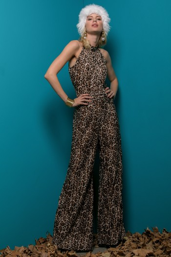 LEOPARD PRINT SATIN CREASED EFFECT JUMPSUIT