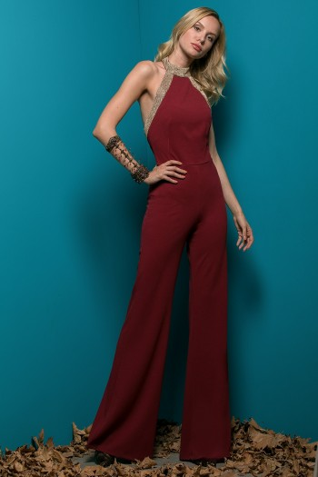 BACKLESS JUMPSUIT WITH METALLIC GOLDEN NET DETAILS