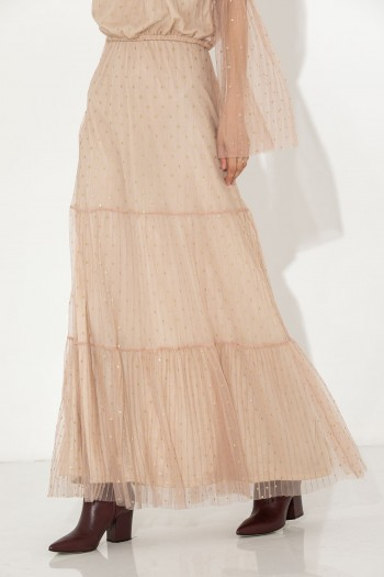 PINK TULLE LONG SKIRT