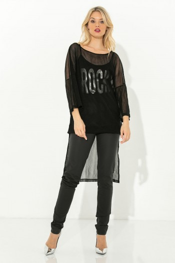 SEMI-SHEER HIGH LOW BLOUSE WITH LOGO