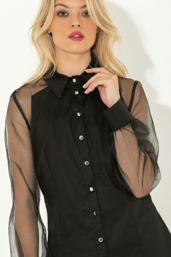 BLACK SHIRT WITH SHEER SLEEVES