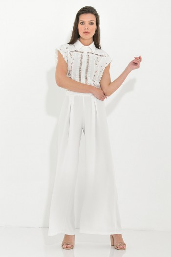 BRODERIE ANGLAISE SLEEVELESS JUMPSUIT