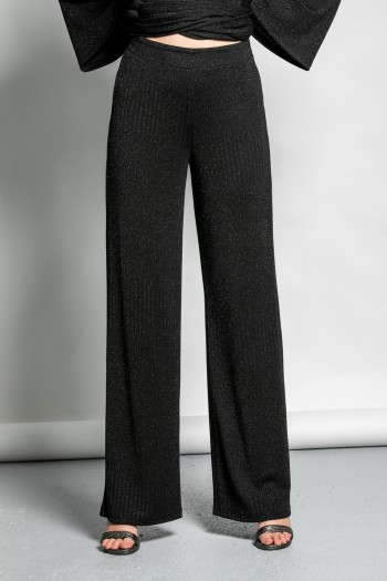 ELASTIC LUREX WIDE LEG TROUSERS