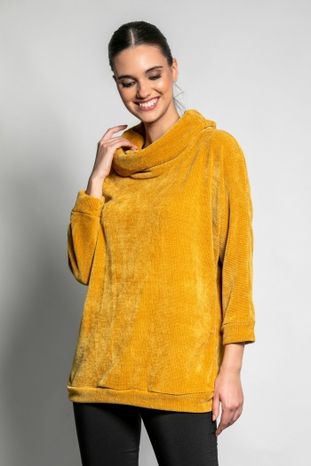 CHENILLE BLOUSE WITH LOOSE NECK