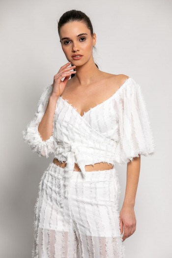 SELF-TIE TOP WITH FRINGES