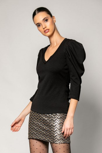 CREPE BLOUSE WITH PUFF SHOULDERS