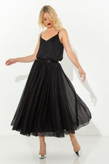 HIGH WAIST TULLE MIDI SKIRT