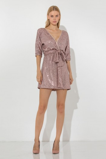 MINI DRESS WITH PINK SEQUINS