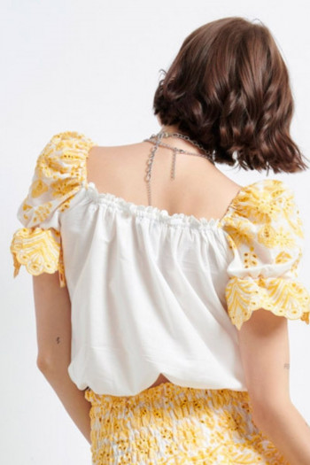 COTTON PUFF SLEEVES TOP