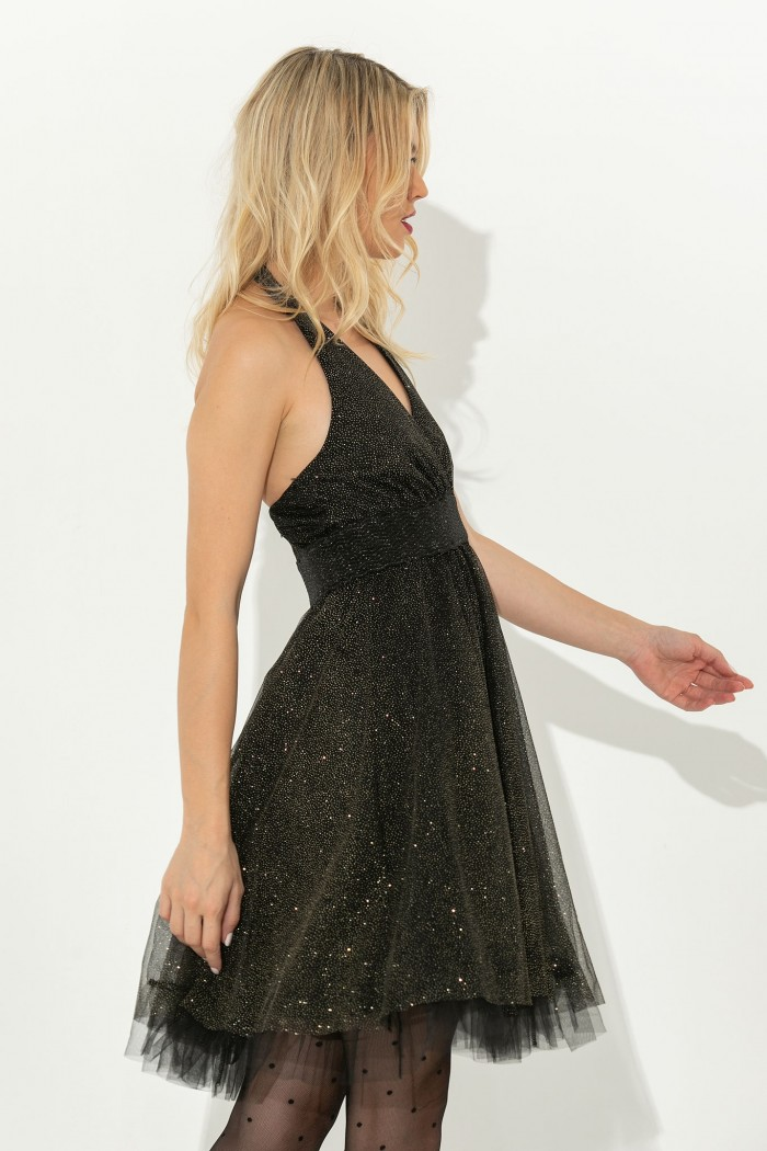 A LINE MINI DRESS WITH OPEN BACK-S-black